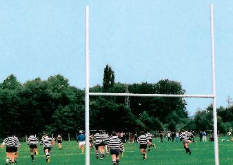 Rugby Tore (Paar), 3-teilig, aus Aluprofilen, mit Bodenhülsen, Preis per Paar