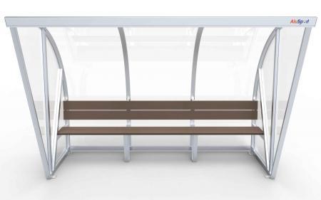 Spielerkabine Modell B, 3m, vollverschweißt, Sitzbank