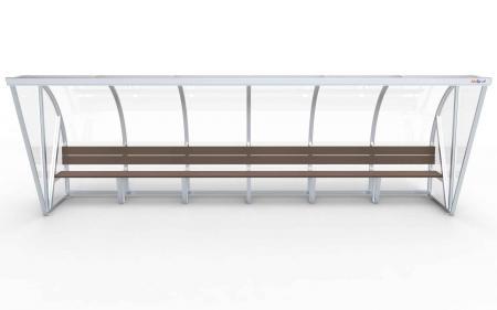 Spielerkabine Modell B, 6m, vollverschweißt, mit Sitzbank
