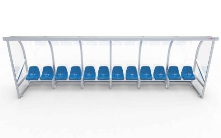 """Spielerkabine Modell A, 6m, vollverschweißt, mit Einzelsitzen """"VIP"""""""