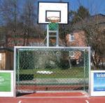 3x2m mit Herkulesnetz 5mm (Stahlseil im Netz) mit Basketballaufsatz, Version Open roof