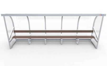 Spielerkabine Modell A, 5m, vollverschweißt, mit Sitzbank