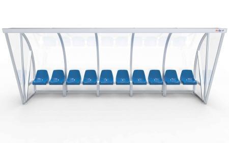 """Spielerkabine Modell B, 5m, vollverschweißt, mit Einzelsitzen """"VIP"""""""