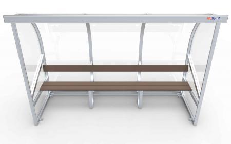 Spielerkabine Modell A, 3m, vollverschweißt, mit Sitzbank