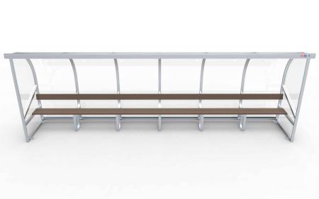 Spielerkabine Modell A, 6m, vollverschweißt, mit Sitzbank