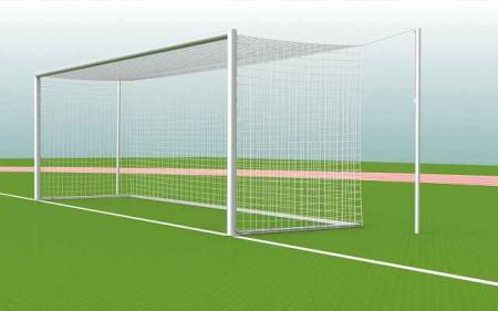 Fußballtor WEISS mit Netzspannstangen in/mit Bodenhülsen, 7,32 x 2,44m Herren