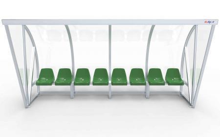 Spielerkabine Modell B, 4m, vollverschweißt, mit Sitzen